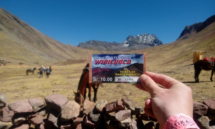 ticket de ingreso a la montaña arcoíris